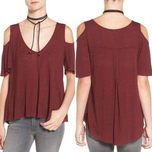 FREE PEOPLE Bittersweet Top Burgundy Maroon Red